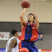 Dependable scorer: Rizing Fukuoka guard Kohei Mitomo has made a solid impact for his team this season, averaging 11.3 points per game and scoring a number of big baskets to help coach Tadaharu Ogawa's club win 16 of its first 26 games. | RIZING FUKUOKA / bj-league