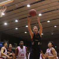 I got it: B-Corsairs center Chas McFarland tries to grab a rebound during Thursday's bj-league Eastern Conference Semifinal game against the Akita Northern Happinets. | KAZ NAGATSUKA