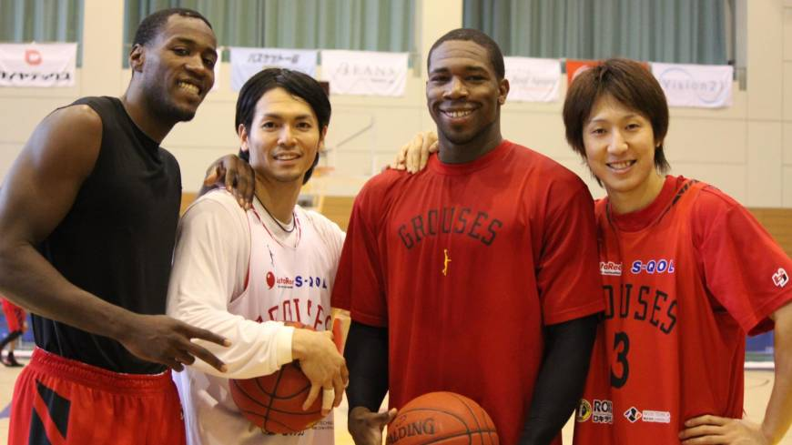 Team work: Toyama Grouses players (from left) Jeremy Jacob, Masashi Joho, Ira Brown and Mitsuhiro Kamezaki have helped lead the franchise to a 25-13 start this season. The Grouses have the weekend off.