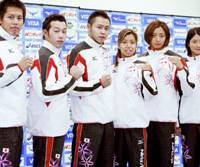Beijing bound: Japan swimming team members for the Beijing Olympics pose on Monday at National Training Center in Tokyo after the Japan Swimming Association announced the squad. From left, Yuta Suenaga, Tomomi Morita, Kosuke Kitajima, Yuko Nakanishi, Hanae Ito and Reiko Nakamura. | KYODO