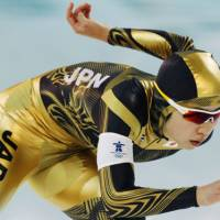 Need for speed: Speedskater Nao Kodaira competes in the women's Olympic 1,500-meter race on Sunday.   KYODO PHTO