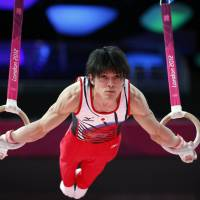 Solid bet: Three-time world champion Kohei Uchimura is favored to win the men's all-around title. | AFP-JIJI