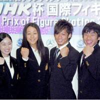 Fantastic four: World champion Mao Asada (second from left) is joined by compatriots Yukari Nakano, Daisuke Takahashi (second from right), and Nobunari Oda at a recent news conference in Tokyo for the NHK Trophy. | KYODO PHOTO