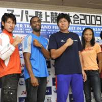 Elite field: Track and field stars, including American sprinter Tyson Gay (third from left) are scheduled to compete in the 2009 Super Track and Field Meet on Wednesday in Kawasaki. | KYODO PHOTO