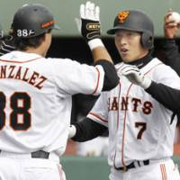 New and improved: Yomiuri Giants rookie outfielder Hisayoshi Chono has shown a lot of promise during the spring. | KYODO PHOTO