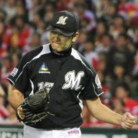 Saving the best for last: Yoshihisa Naruse did some of his best work of the year during the Climax Series. | KYODO PHOTO