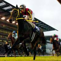 Winning form: Filly Buena Vista, ridden by Christophe Soumillon, dashes to victory in the 142nd Tenno-sho on Sunday at Tokyo Racecourse. | KYODO PHOTO