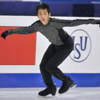Good to go: Nobunari Oda skates on Wednesday in Beijing ahead of the Grand Prix Final. | KYODO PHOTO