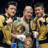 Love-hate relationship: The polarizing Kameda family, Daiki, Koki and Tomoki, are one of Japanese boxing's main draws. | KYODO PHOTO