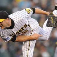 Hear me roar: Jason Standridge got his second season with the Hanshin Tigers off to a strong start on Wednesday night  at Koshien Stadium. | KYODO PHOTO