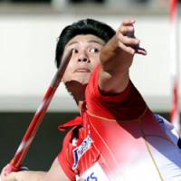 World bronze medalist Yukifumi Murakami makes a personal best throw of 83.27 meters and wins the men's javelin at the Asian Athletics Championships on Sunday. | KYODO PHOTO