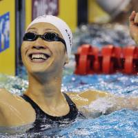 Terakawa nabs silver in women's 50-meter backstroke