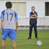 Caught in the cross hairs: All eyes are on manager Alberto Zaccheroni as he prepares to guide Japan during World Cup qualifying. | KYODO