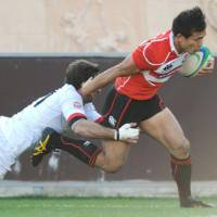 Try me: Japan's Hirotoki Onozawa goes on the attack against Georgia on Saturday in Tbilisi. | KYODO