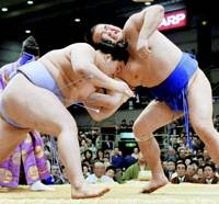 Eighth-ranked maegashira Goeido defeats Takamisakari to hand the fellow-maegashira his first loss of the Spring Grand Sumo Tournament on Thursday at Osaka Prefectural Gymnasium. | KYODO PHOTO