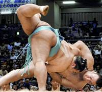 On the tight rope: Komusubi Toyonoshima throws down ozeki and yokozuna contender Kotooshu, handing the Bulgarian his second loss of the Nagoya Grand Sumo Tournament at Aichi Prefectural Gymnasium on Tuesday. | KYODO PHOTO