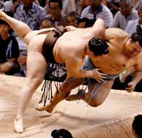 Crash landing: Yokozuna Hakuho powers komusubi Toyonoshima out of the ring to maintain his perfect record on the eigth day of the Nagoya Grand Sumo Tournament at Aichi Prefectural Gymnasium on Sunday. | KYODO PHOTO