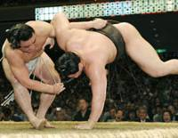 Gunning for the top: Ozeki Harumafuji (left) is aiming to earn a promotion to yokozuna at the Nagoya Grand Sumo Tournament which begins on July 12. | KYODO PHOTO