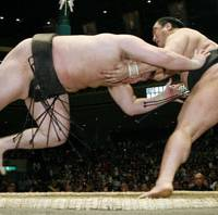 Grand champion Hakuho is helped to the ground by Aminishiki on the first day of the Summer Grand Sumo Tournament. | KYODO PHOTO