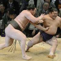 Master at work: Hakuho (left) shoves Takekaze out of the ring at the Kyushu Grand Sumo Tournament in Fukuoka on Sunday. | KYODO