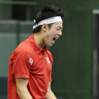 Early exit: Kei Nishikori reacts during Japan's Davis Cup tie against Croatia on Sunday. | KYODO