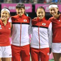 Taking care of business: (From left) Rika Fujiwara, Ayumi Morita, Kurumi Nara and Kimiko Date-Krumm led Japan to a 4-1 victory over Belgium in last weekend's Fed Cup tie. | AFP-JIJI