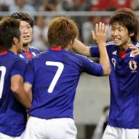 London calling: Striker Yuya Osako (right) takes the plaudits after scoring in Japan's Olympic qualifying 3-1 win over Kuwait at Toyota Stadium on Sunday night. | KYODO