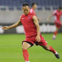 One shot: North Korea striker Chong Tese trains ahead of Friday's World Cup qualifier against Japan in Saitama. | KYODO PHOTO