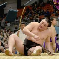 Harumafuji slips against Takayasu