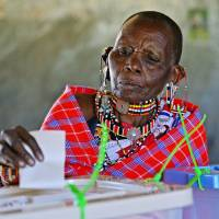 Patience counts: An elderly Maasai woman casts her vote in Ilngarooj, Kajiado County, Maasailand, on Monday. | AFP-JIJI