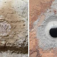 Rock your world: A combination of NASA images shows the results of Mars Exploration Rover Opportunity's rock-abrasion tool (left) and a hole in sedimentary bedrock after it was drilled by the Curiosity rover recently. An analysis of the rock sample by Curiosity has unveiled minerals — including hydrogen, carbon and oxygen — that are the building blocks of life, NASA says. | AFP-JIJI