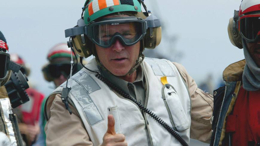 U.S. President George W. Bush visits an aircraft carrier off the California coast on May 1, 2003, before declaring that major combat operations in Iraq were finished.