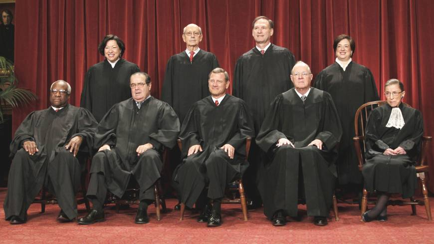 Top tribunal: U.S. Supreme Court justices gather for a group portrait in Washington in October 2010. Seated from left are Associate Justices Clarence Thomas and Antonin Scalia, Chief Justice John Roberts, Associate Justices Anthony Kennedy and Ruth Bader Ginsburg. Standing, from left, are Associate Justices Sonia Sotomayor, Stephen Breyer, Samuel Alito and Elena Kagan.