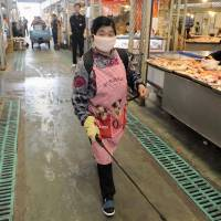 A woman sprays disinfectant at a market that sells live poultry market in Beijing. | KYODO/CNS