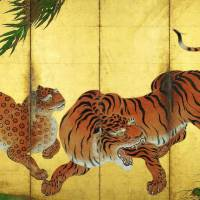 'Dragon and Tiger' (detail of left screen) by Kano Sanraku (1559-1635) | MYOSHIN-JI TEMPLE, KYOTO IMPORTANT CULTURAL PROPERTY