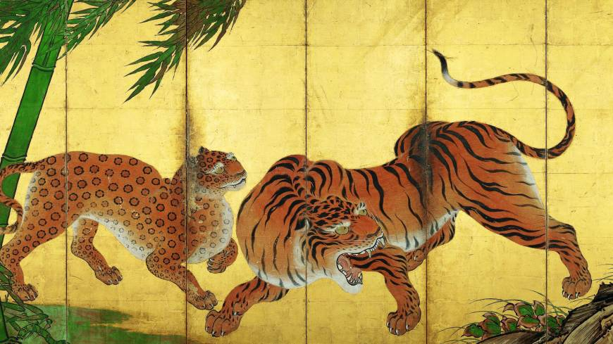 'Dragon and Tiger' (detail of left screen) by Kano Sanraku (1559-1635)