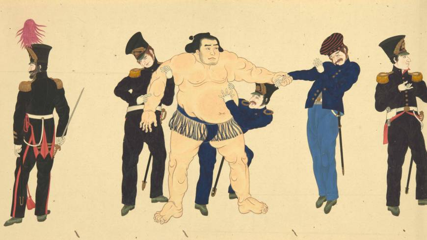 Stong hand shake: A detail from the silk scroll 'The Mission of Commodore Perry to Japan' (1854) shows members of Perry's party meeting a Sumo wrestler for the first time. Calligrapher Onuma Chinzan, Painting attributed to Hibata Oosuke.
