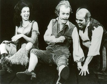 Genre-hopping: Matsumoto Koshiro IX (then known as Ichikawa Somegoro VI) in the lead role of Cervantes (center), together with Tony Martinez as his servant, Sancho, and a supporting actress playing Aldonza in a 1970 production of 'Man of La Mancha' at the Martin Beck Theater (now the Al Hirschfeld Theatre) in New York City. | MATSUMOTO KOSHIRO OFFICE