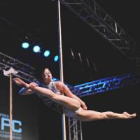 Poles apart: Mai Sato, winner of the Women's Division at the 2010 International Pole Championship in Tokyo, poses on the pole.