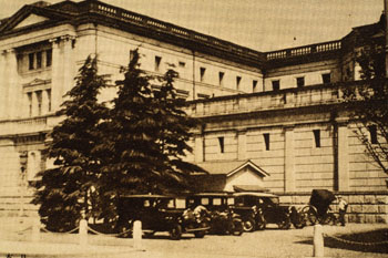 Monuments to modernization: The neoclassical 1896 Bank of Japan (left) has changed little since this postcard image was taken.