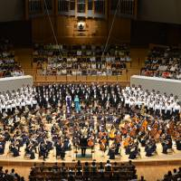 Born again: Tokyo Symphony Orchestra performs the opening concert at the restored Muza Kawasaki Symphony Hall on April 7. | MASANORI HOTTA