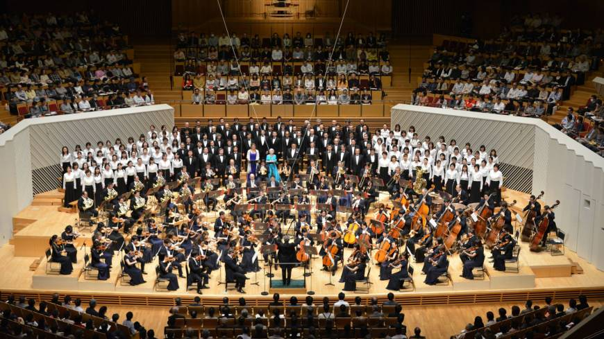 Born again: Tokyo Symphony Orchestra performs the opening concert at the restored Muza Kawasaki Symphony Hall on April 7.