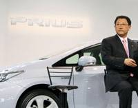 Profit hunter: Akio Toyoda, incoming president of Toyota Motor Corp., touts the new Prius in Tokyo on May 18. | BLOOMBERG