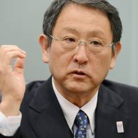 At the wheel: Toyota Motor Corp. President Akio Toyoda speaks in a recent interview. | KYODO