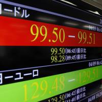 Flying high: An electronic screen shows the yen trading at around 99.50 to the dollar in early trading Tuesday in Tokyo. | KYODO