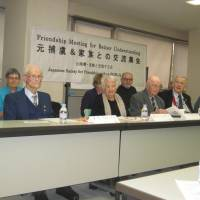 Tales of suffering: Alfred Ellwood (second from right) and fellow Australian POWs, including Lorna Johnston, discuss their wartime experiences at the hands of Imperial Japanese forces in Tokyo on Nov. 30. | ALEX MARTIN