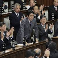 Second coming: Liberal Democratic Party leader Shinzo Abe bows after being named prime minister Wednesday. | AP