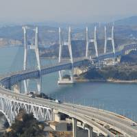 A bridge too far: Eleven small cracks were found in 2009 in the Seto Ohashi Bridge linking Honshu and Shikoku but have never been repaired, according to its expressway operator. | KYODO