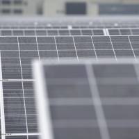 Sunny side up: Softbank Kyoto Solar Park in Kyoto Prefecture taps the sun last July. | BLOOMBERG