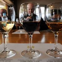 Through the wine glass: French sommeliers check out Tomi White 2010 (left), Tomi Red 2008 (center) and Tomi Noble D'or 2002 at Suntory's Tomi no oka winery in Kai, Yamanashi Prefecture, on March 27. | AFP-JIJI